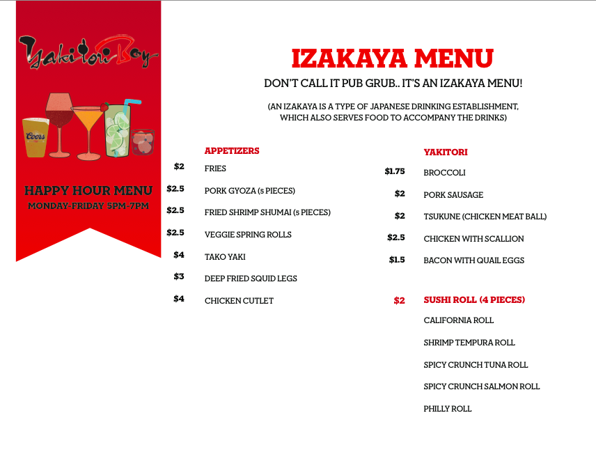 Yakitori Boy hapy hour food menu