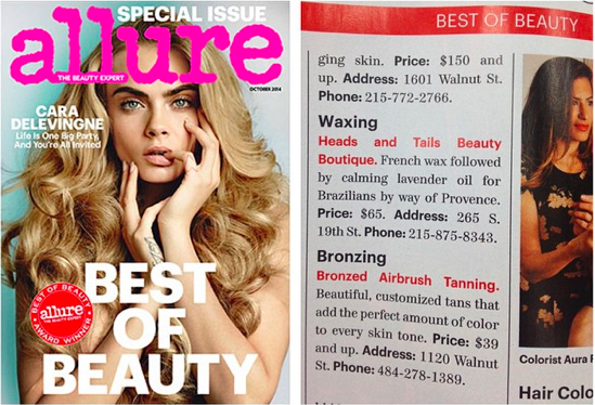 Allure, Allure Magazine, Best of Beauty Award, Heads & Tails, Heads & Tails Beauty Boutique, Best Waxing, Best in Philly,